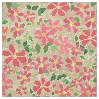 Clematis-Rosa, Rot, orange Blumenmuster auf Taupe Stoff