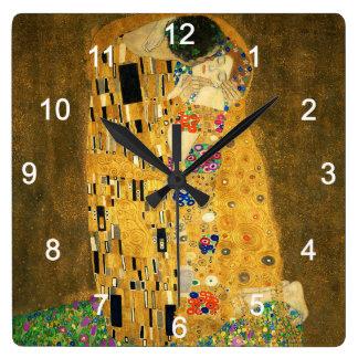 "Clock of ""The Kiss"",No.02 Quadratische Wanduhr"