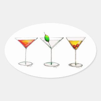 Cocktail-Mischgetränke Martini WeltCosmo Ovaler Aufkleber