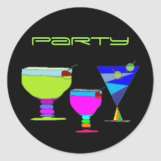 Cocktail-Party-Neon-Getränke auf schwarzem Runder Aufkleber