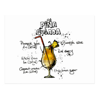 Cocktail-Rezept Pina Colada Postkarte