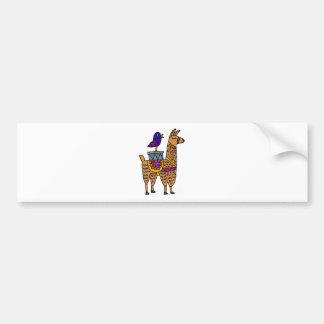 Col. Llama mit bunter Decke und Paketen Autoaufkleber