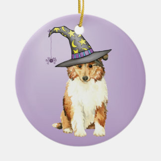 Collie-Hexe Keramik Ornament