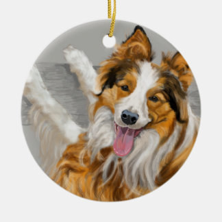 Collie Rundes Keramik Ornament