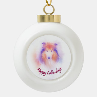 Collie-Wortspiel Keramik Kugel-Ornament