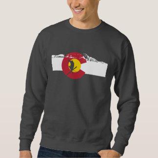 Colorado-Flaggen-T - Shirt - Skier - felsige Berge