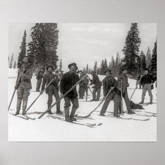 Colorado Skiers, 1910. Vintages Foto Poster