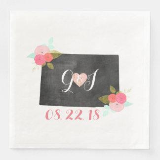 Colorado-Staatchic-Blumenmonogramm-Hochzeit Serviette
