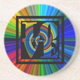 colorburst gerahmte gewundene quadratische Liebe Getränkeuntersetzer