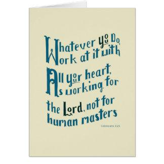 Colossians 3:23 grußkarte