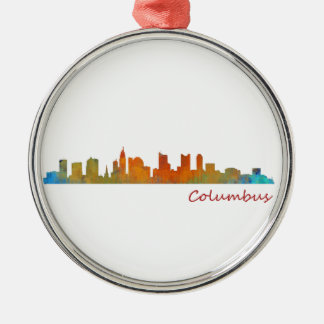 Columbus Ohio, City Skyline, v1, Silbernes Ornament