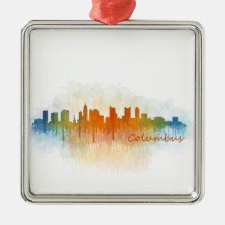 Columbus Ohio, City Skyline, v3, Silbernes Ornament
