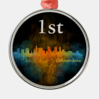 Columbus Ohio, City Skyline, v4, Silbernes Ornament