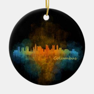 Columbus Ohio City Skyline. Watercolor Cityscape 4 Keramik Ornament