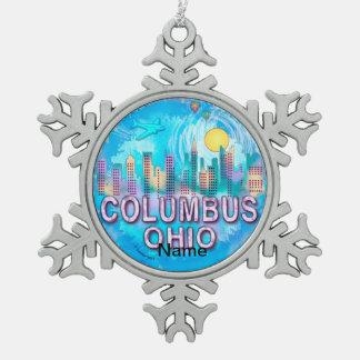 Columbus-Skyline Schneeflocken Zinn-Ornament