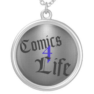 Comicen 4 Lebens-Halskette (blau) Versilberte Kette