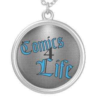 Comicen 4 Lebens-Halskette (umgekehrtes Blau) Versilberte Kette