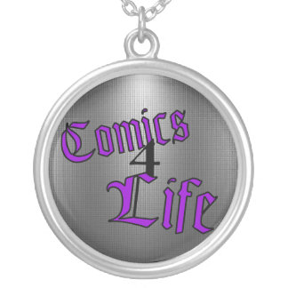 Comicen 4 Lebens-Halskette (umgekehrtes Lila) Versilberte Kette