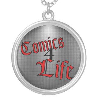 Comicen 4 Lebens-Halskette (umgekehrtes Rot) Versilberte Kette