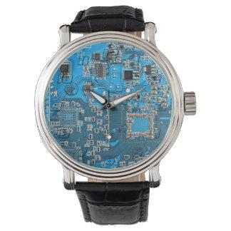 Computer-Aussenseiter-Leiterplatte - Blau Armbanduhr