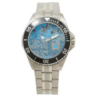 Computer-Aussenseiter-Leiterplatte - Blau Uhr