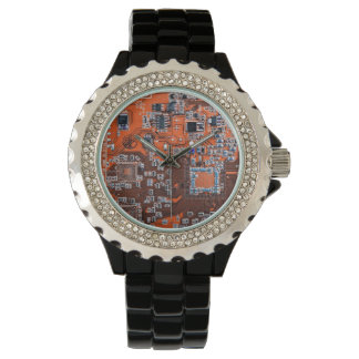 Computer-Aussenseiter-Leiterplatte - Orange Armbanduhr
