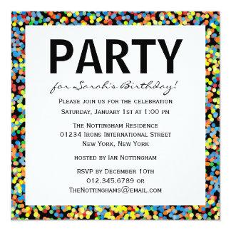 Confetti besprüht Geburtstags-Party Quadratische 13,3 Cm Einladungskarte