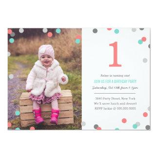 Confetti-Foto-Geburtstag 12,7 X 17,8 Cm Einladungskarte