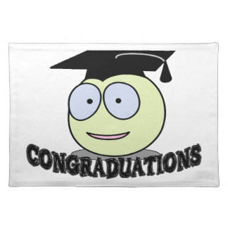 Congraduations smiley mit Absolvent-Kappe Tischset