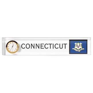 Connecticut-Staats-Flaggen-Schreibtisch-Uhr durch