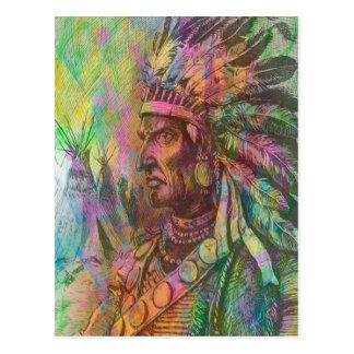 Coole antike gebürtige amerikanischer Ureinwohner Postkarte