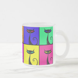 Coole bunte Kitty-Katzen-Pop-Kunst Matte Glastasse