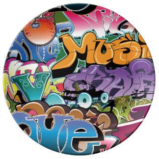 Coole Graffiti-Straßen-Kunst abstrakt Porzellanteller