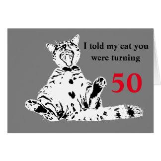 Coole lustige Katzen-50. Geburtstag Grußkarte