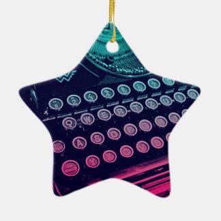 Coole Retro Vintage Schreibmaschinen-Pop-Kunst Keramik Stern-Ornament