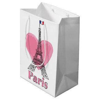 Coole rosa Turm-moderne Geschenk-Tasche Paris Mittlere Geschenktüte