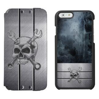 Coole silberne Metallschädel iPhone 6 Geldbörse Incipio Watson™ iPhone 6 Geldbörsen Hülle