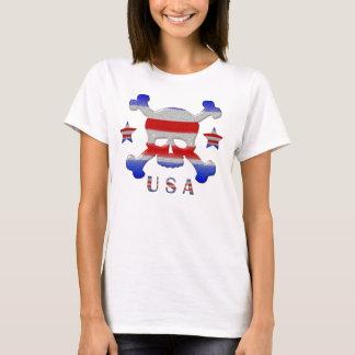 Coole Sterne u. Streifen-Schädel USA patriotisch T-Shirt