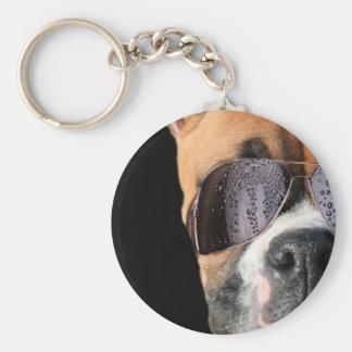 Cooler Boxer in Sonnenbrillen keychain Schlüsselanhänger