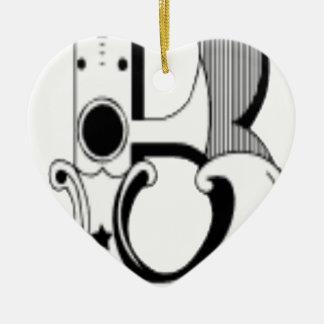 cooler Buchstabe Schwarzweiss Keramik Herz-Ornament