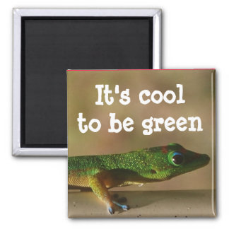 Cooler grüner Gecko Quadratischer Magnet