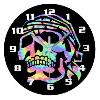 Cooler psychedelischer Schädel Große Wanduhr