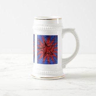 Cooler rustikaler Stern-Pop-Kunst-Druck Bierkrug
