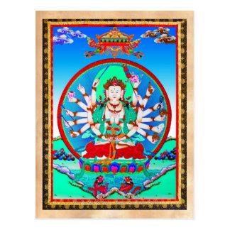 Cooler tibetanischer thangka Tätowierung Cundhi Postkarte
