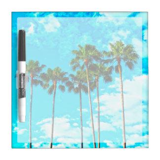Cooler tropischer Palme-blauer Himmel Trockenlöschtafel