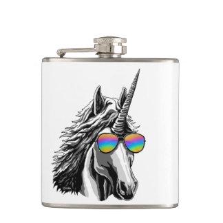 Cooler Unicorn mit Regenbogensonnenbrillen Flachmann