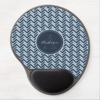 Cooles blaues Zickzack Muster-Monogramm Gel Mousepad