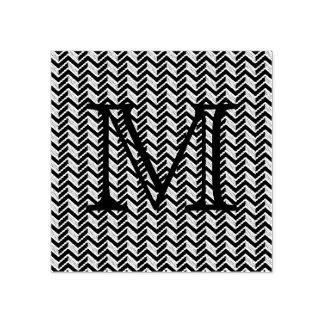 Cooles blaues Zickzack Muster-Monogramm Gummistempel
