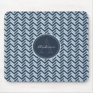 Cooles blaues Zickzack Muster-Monogramm Mauspads