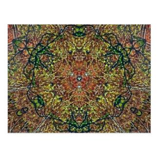 Cooles erdiges Herbstfarbenmandala-Muster Postkarte